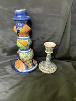 "Hand Painted Talavera Mexico & Italy Ceramic Candlestick Holders 7.5"" & 4"""