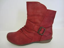 Ladies Spot on Flat Ankle BOOTS F50337 Red 4 UK Standard