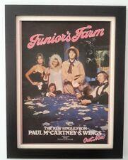 PAUL McCARTNEY*WINGS*Juniors Farm*1974*ORIGINAL*POSTER*AD*FRAMED*FAST WORLD SHIP