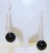 GENUINE! 39.0cts! Black Spinel Sphere Drop Hook Earrings Solid S/Silver 925!