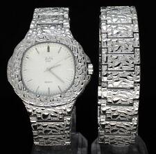 Mens Nugget Design Square Face Watch & Bracelet Hip Hop Set 14k Gold Plated