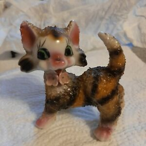 Vintage Big Eye Kitty Cat Tabby Figurine - Kitsch - JAPAN