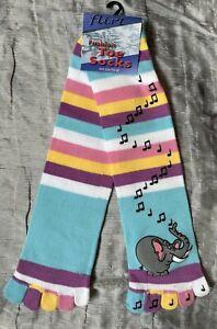 1 Pair Designer Toe Socks Stripey Striped Elephant Music Rainbow Fun & Warm