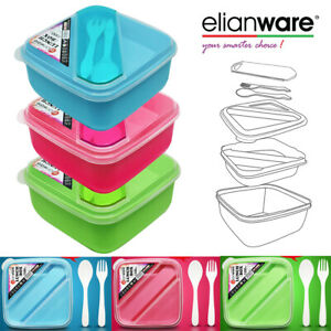 1350mL BPA Free Airtight Microwavable Lunch Bento Box Compartment Fork Spoon UK