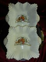Pair QUEEN VICTORIA Diamond Jubilee 60 1897 Foly China Serving Dishes ROYAL WARE