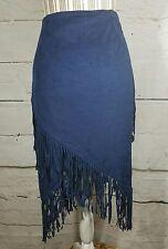 Chelsea & Violet Skirt Faux Suede Boho Fest Fringe Stretch Navy Blue MED $64 NEW