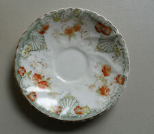 DAINTY VICTORIAN SAUCER-ORANGE FLOWERS & GREEN FAN PATTERN-CROWN OVER R ^