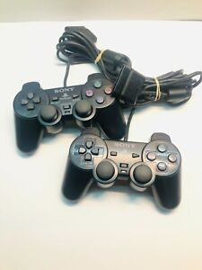 OEM OFFICIAL Sony Playstation 2 PS2 Dualshock 2 Controller PAIR Black TESTED