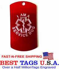 Service Dog Collar Tag | Red Personalized Engraved Made in Usa >$3.83 shipped!
