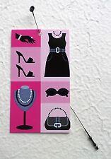 100 CLOTHING TAGS HANG TAGS PINK BLACK ACCESSORIES RETAIL TAGS PLASTIC LOOP TIES