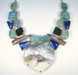 DENDRITE OPAL, COPPER TURQUOISE, MOONSTONE, M.O.P. NECKLACE  925 STERLING SILVER