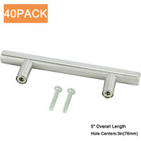 40Pack Stainless Steel Kitchen Cabinet Drawer Door Handles T Pull bar Hardware