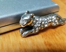 Sterling Silver Leopard Panther Cougar Rhinestone Cat Pin Brooch Designer Signed