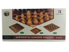 3in1 Schach Dame Backgammon Nardi 50cm x 50cm Нарды Brettspiel aus Holz NEU