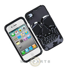 Apple iPhone 4/i4S Hybrid Skullcap Cover Gun Metal Plating/Black  Case Cover