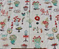 """Vintage c1940s Cotton Conversational Home Dec Fabric~L-30"""" X W-35"""""""
