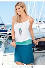 Lascana for Venus Womens CASUAL TANK DRESS Blue Multi Size 10 (UU6)
