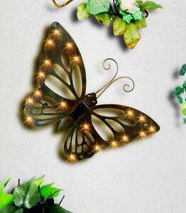 Solar Schmetterling Wanddekoration mit 20 LEDs Metall Dekobild Metallbild
