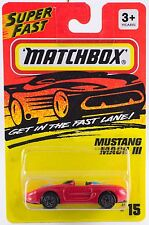 Matchbox MB 15 Mustang Mach III Red Silver Wheels Thailand 1995 Mint On Card