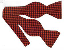 Black & Red Bow tie / Bright Red & Black Houndstooth Bow tie / Self-tie Bow tie