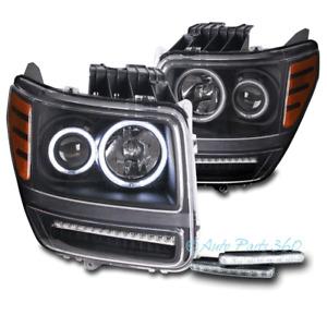 FOR 07-11 DODGE NITRO CCFL HALO LED BAR BLACK PROJECTOR HEADLIGHT HEADLAMP W/DRL