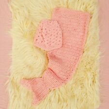 HANDMADE Baby Girl Pink Mermaid & Headband 2 PIECE SET Crochet Photo Props 0-3m