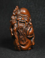 Chinese Buddhism Boxwood Wood Carved longevity Immortal God Shou Star Statue