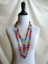 Vtg Chunky Beaded Plastic Celluloid? Multi Color Beads Double Strand Necklace