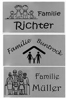 """ID Türschild """"Familie"""" + Gravur nach Wunsch Namensschild Klingelschild Edelstahl"""