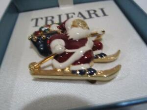 Trifari Christmas Pin Rhinestone Enamel Santa Claus on Skis Brooch Boxed