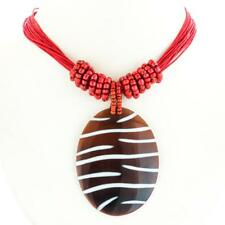 "2 1/2"" ZEBRA NATURAL DARK PEN SHELL CORAL RED ROPE necklace"