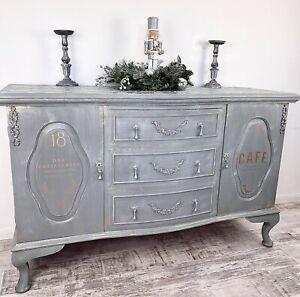 Beautiful Hand Painted Rustic Grey Vintage Sideboard Dresser Cabinet Lace Top