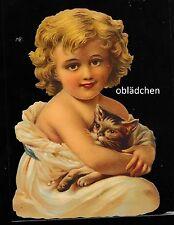 # GLANZBILDER # EF 5157 Bild - Karte / Riesenoblate: Kind mit Katze, so niedlich