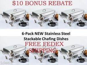 6-Pack NEW Choice Full Size 8 Qt. Stackable Stainless Steel Chafing Dishes + $