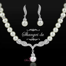 18K White GOLD GF Wedding NECKLACE ROUND PEARL SET WITH SWAROVSKI CRYSTAL EX332