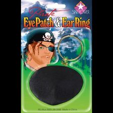 Pirate Eye Patch and Ear Ring Earring NEW Clip On Clipon Ring Buccaneer Kit Gold