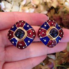 Cabochon Blue Iolite & Enamel Earrings in 18k Yellow Gold ITALIAN - HM1089SE