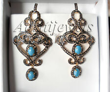 Wedding Earrings Vintage Fine Edh Victorian 5.47ct Rose Cut Diamond Turquoise
