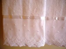LACE Fingertip Guest Towels (2) WHITE Velour Cotton Embellished NEW by UtaLace