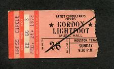 1978 Gordon Lightfoot concert ticket stub Houston Endless Wire Sundown