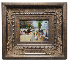 Framed miniature painting of Paris Street in Victorian style in ornate wood fram