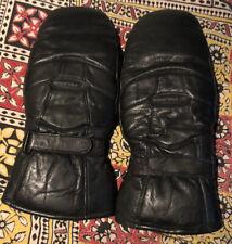 Vintage Polaris Men's 1970s Snowmobile Mittens Gloves Blue Leather Palms