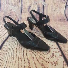 Clarks Size 4 Black Sling Back Brogue Kitten Heel Shoes