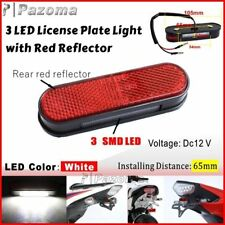 Motorcycle 3 LED Rear Tail License Plate Number Plate Light with Red Reflector