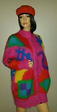 VINTAGE CATHARINE LOVER BRIGHT FUZZY MOHAIR CARDIGAN SWEATER BIG ROOMY RED
