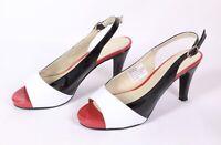 Patrizia Dini Slingback Pumps Sandaletten Schuhe Lack schwarz flach rot Gr. 37