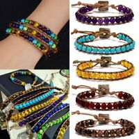 7 Chakra Leather Natural Stone Beaded Bracelet Yoga Healing Wristband Braid Knot