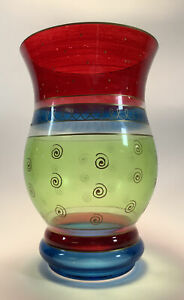 """7"""" x 11"""" Glass Flower Vase Red, Blue and Green Striped Decorative Home Piece"""