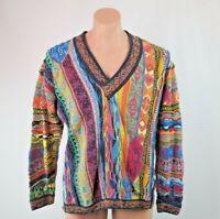 VTG 90s COOGI Australia McGregor Cosby BIGGIE sweater Vapor-wave Textured Sz M