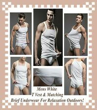 Mens White T Vest & Matching Brief Underwear For Relaxation Outdoors HTF